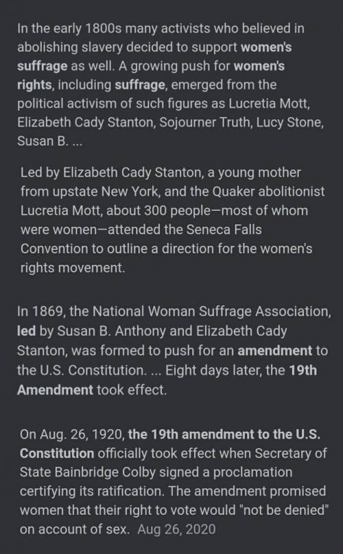 What is the events that led to Woman's right to vote?